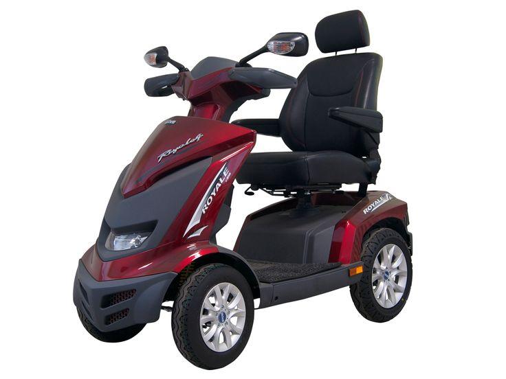 #Scootmobiel PL1300 Royale- rood Art. nr.: HW002RD-G    Veel luxe en  comfort.   18 km/h topsnelheid  Automatisch remmen bij het nemen van bochten Remlicht Krachtige 1300-W-Motor Volledige vering rondom Bodemvrijheid tot 15 cm Individueel instelbare Deluxe-Captain stoel