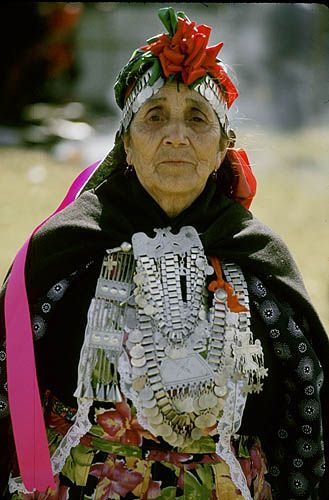 Chile. Cholchol (near Temuco). Mapuche Indian dressed for a festival.