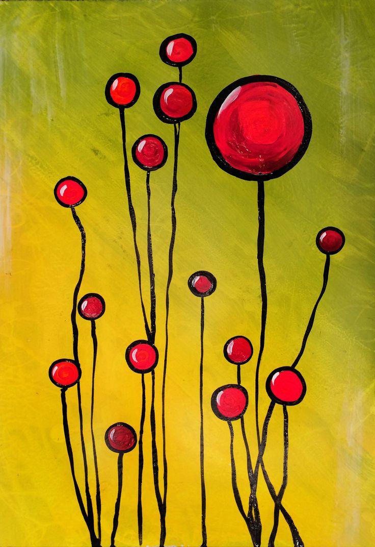 "Prairie Fire Poppies by Jill English | $100 | 16""w x 24""h | Original Art | http://www.vangoart.co/buy/art/prairie-fire-poppies @VangoArt"