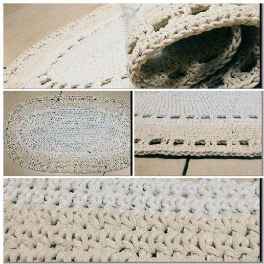 Szydełkowy dywanik ze sznurka bawełnianego https://inka-rekodzielo.blogspot.com
