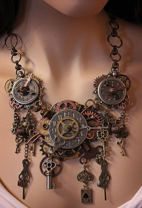 Maybe a bit busy and cluttered for my usual taste, but I'm really loving this steampunky look at the moment, and I reckon a slightly toned down version could work really well for me. Now, all I need to do is work out where I can get my hands on some of these cogs and watch faces and keys etc...
