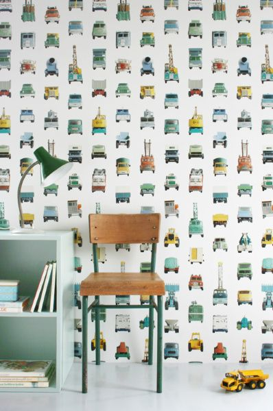Work vehicles wallpaper | Products | Studio ditte - accent wall in a boy's room