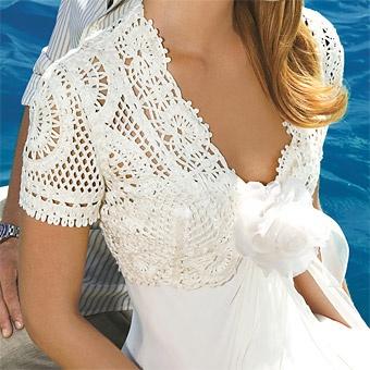 white crochet bolero