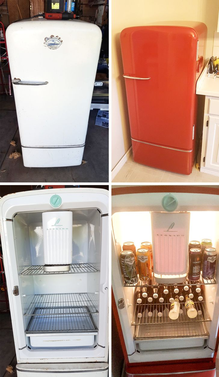 22 People With A Magic Touch Who Turn Old Stuff Into One Of A Kind Items Vintage Fridge Old Refrigerator Old Things