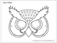 Owl mask coloring sheet