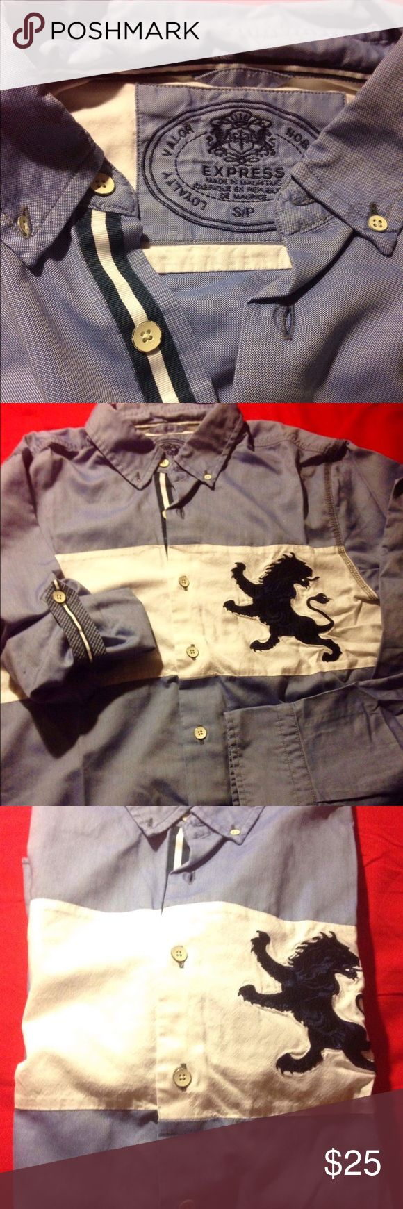 Express button down with roll up sleeves It's an express button down shirt with roll up sleeves. They have buttons in the side to keep it up. Express Shirts Casual Button Down Shirts