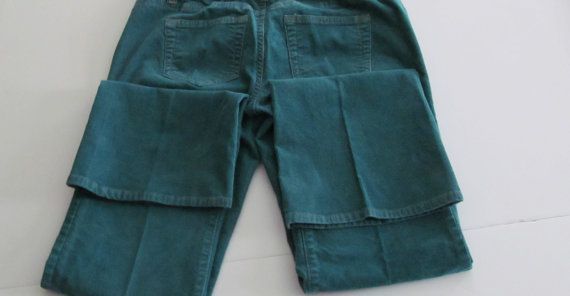 90s Old Navy Pants Stretch Teal Corduroy by ReVintageBoutique