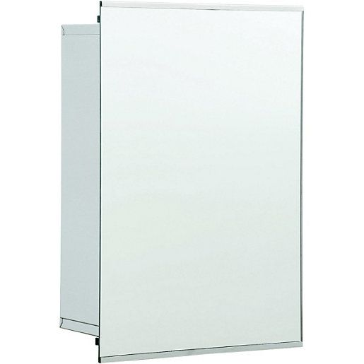 Wickes Bathroom Sliding Mirror Cabinet Stainless Steel 340mm | Wickes.co.uk