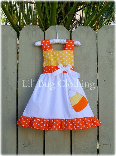 Candy Corn Jumper Dress Yellow and Orange Polka Dot Halloween Jumper Dress on Etsy, $39.99