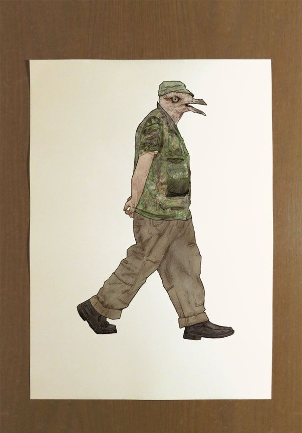 This is a Signed Limited Edition Illustration Print with an Edition of Twenty.  Artist: Benk Title: 'Step: Caught in Line' Size: 30cm x 42cm  The irony is that this man's camouflage will really stand out on your wall.