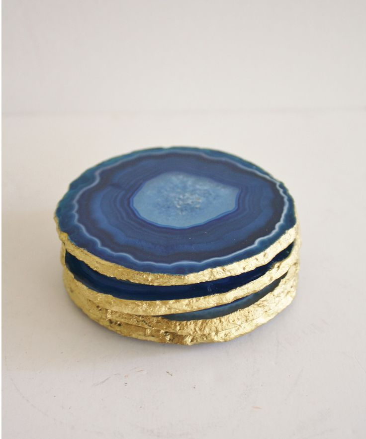 "Set of 4 ""Azure Blue"" Agate Coasters with Gold Leaf Edge"