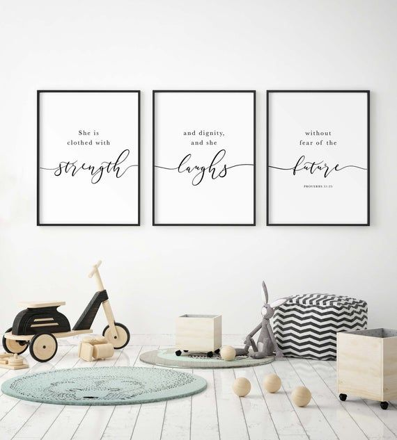 Bible Verse Wall Art Of Proverbs 31 25 She Is Clothed With Etsy In 2020 Christian Nursery Decor Bible Verse Wall Art Bible Verse Wall