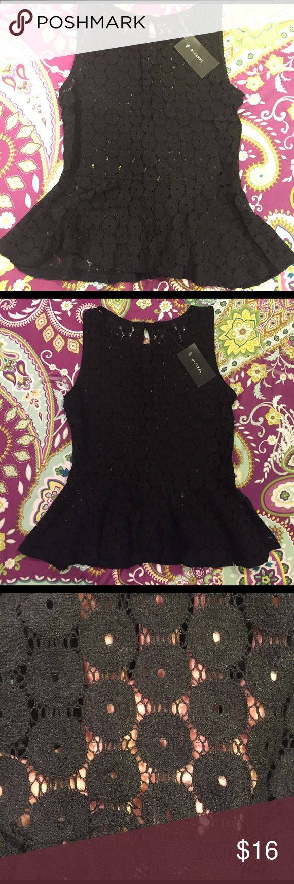 Sheer black peplum top Grab this adorable sheer peplum top size Small. Pretty design as seen in pictures. Gold keyhole button closure on the back. Tops Tank Tops