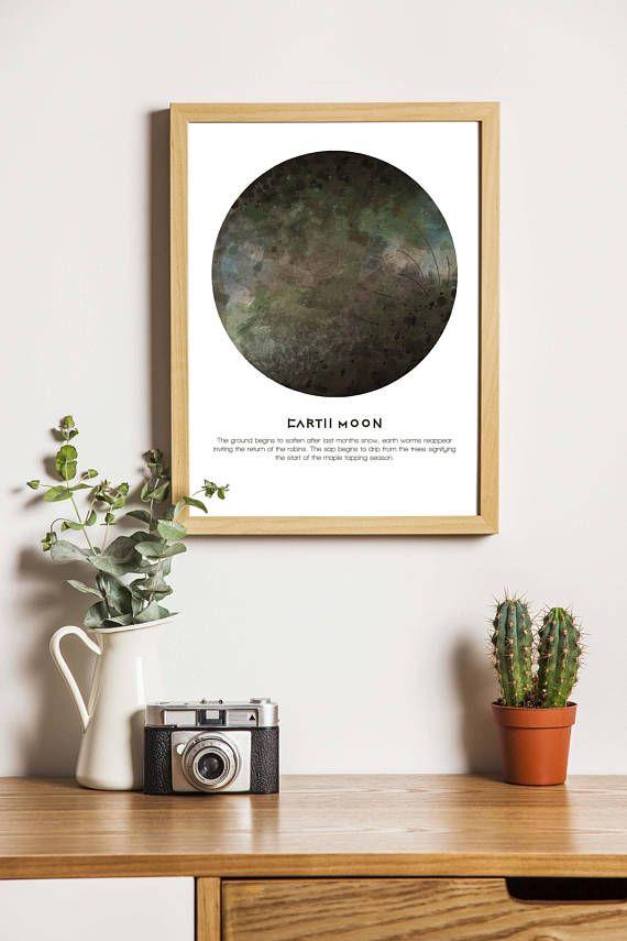 Full 'Earth Moon' digital download A4 print. Native