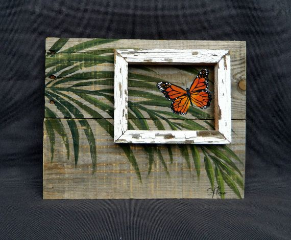 Hand painted butterfly with palm leaves, Beach, Wall art, Distressed, barnwood, Reclaimed Wood Pallet Art, Rustic & Shabby Chic, upcycled