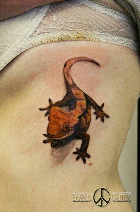 my crested gecko tattoo first tattoo i got nataliew