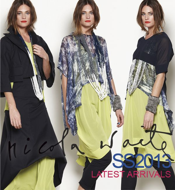 Our latest arrival: exclusive silk print paired back with sheers and ink cotton makes for great, flexible dressing.