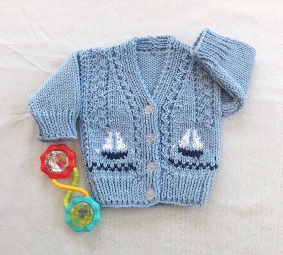 Baby boy cardigan 0 to 6 months Baby knit by LurayKnitwear