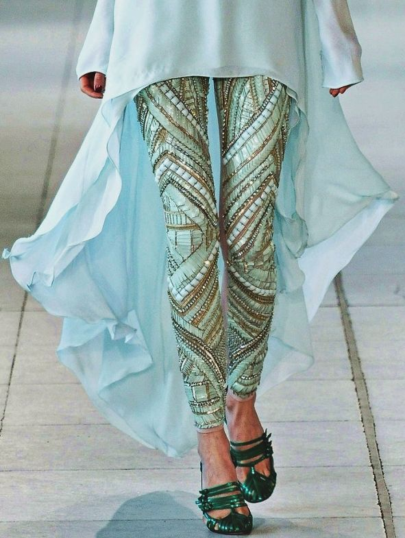Ligh sky color Embroidered leggings for high-low smart kurti, Designer collection trend for 2015, hightlights long slim legs and making it all covered yet hot.