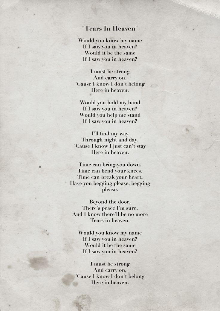 Songtext von Eric Clapton - Tears in Heaven Lyrics