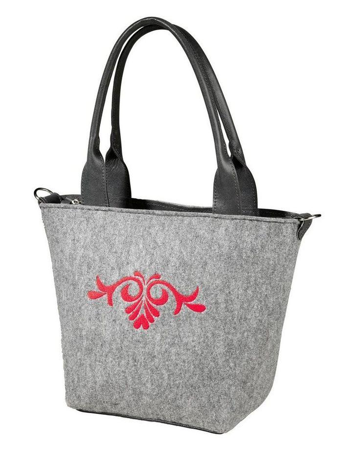 Reitmayer Filz-Handtasche für 39,95€. Kontrastierende Stickerei frontseitig, Tragehenkel aus Rindleder, Kariertes Innenfutter bei OTTO
