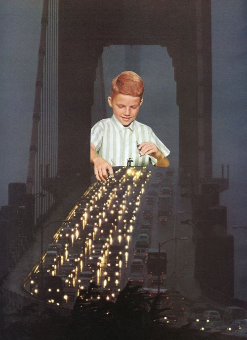 This is a really cool photomontage. It appears to be of a young boy playing on an interstate bridge with the passing cars as if they are toys. This is visually interesting to see the giant boy compared to the vehicles passing by. However, it does not seem realistic because the boy is brighter and not in the same lighting as the night-lit sky.