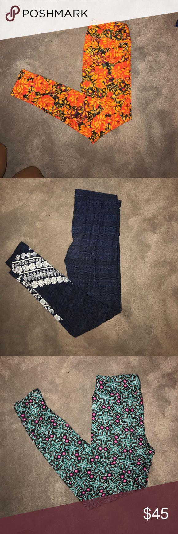 Set of 3 leggings Set of three leggings 2 pairs of lula roe never worn and one pair of of hippie rose leggings- 🔶orange leggings lula roe OS never worn -🔷blue leggings hippie rose small worn once -🔺 pink and blue lula leggings OS never worn LuLaRoe Pants Leggings