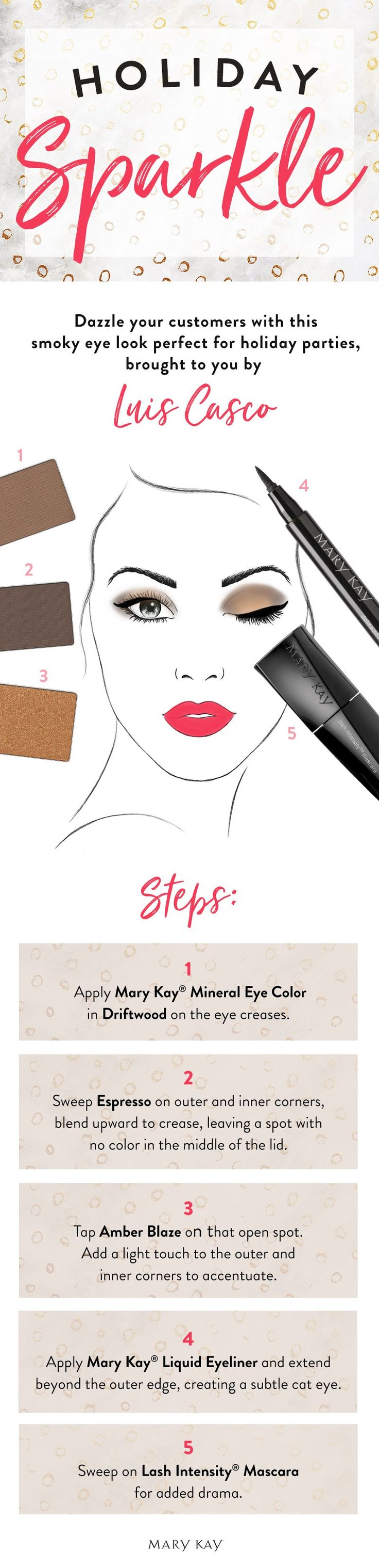 Holiday party perfection! Help your customers achieve a sultry smoky eye with these tips from Mary Kay makeup artist Luis Casco.