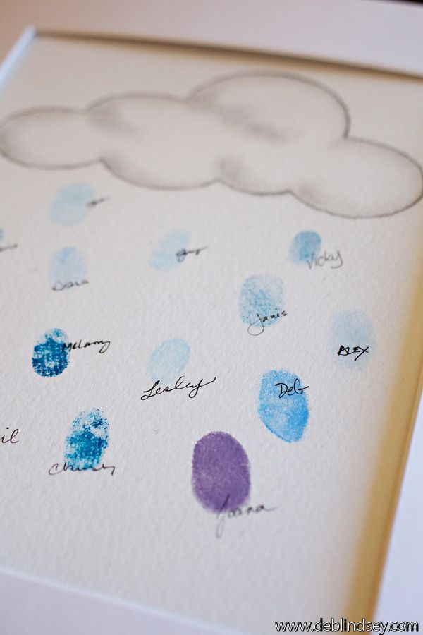 thumb print guest book Deb Lindsey Photography  gender neutral baby shower Seattle themed blue and yellow