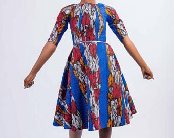 Bleu rouge a-ligne robe blanche, robes de Swing, Daviva robe imprimée, robe de mariée africaine, midi, Parti africain, robe Ankara, Ankara bleu