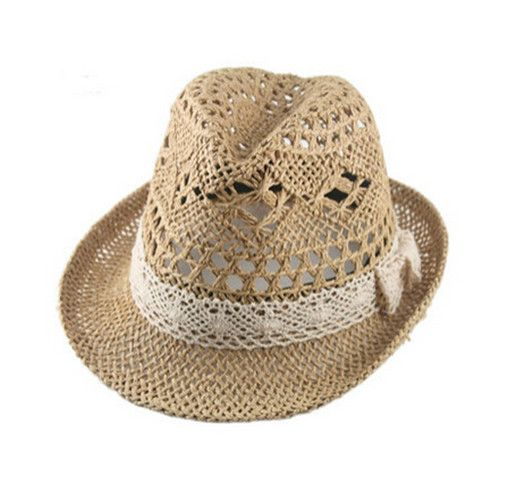 Fashion straw fedora hat for women hollow panama hat for summer