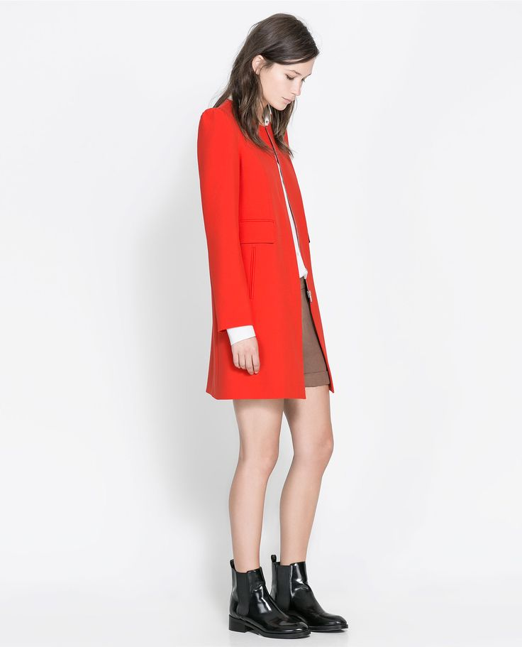 Zara coat with gathered shoulder- cant decide which red Zara coat I love  more!