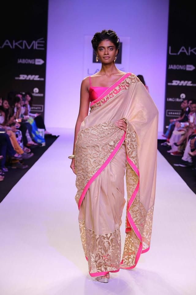 Mandira Bedi Lakme Fashion Week Summer 2014 hot pink and cream ivory sari. More here: http://www.indianweddingsite.com/mandira-bedi-lakme-fashion-week-summer-resort-2014/