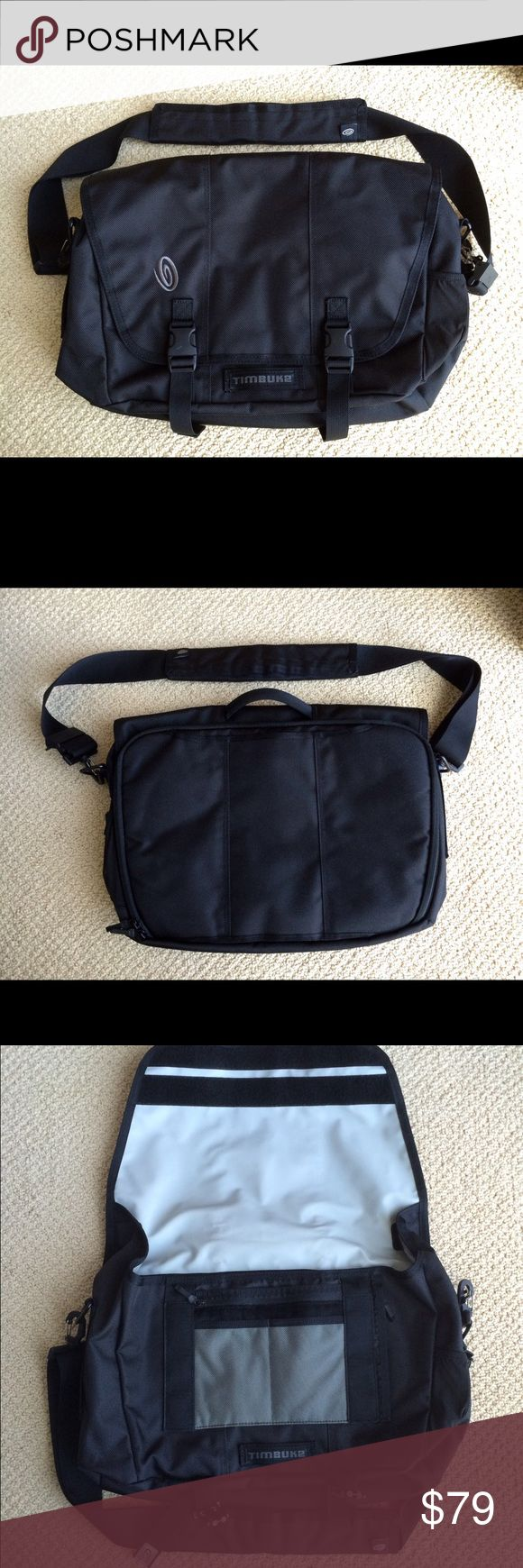 "🆕 NWOT Timbuk2 Commute Messenger Bag NWOT best classic laptop messenger bag for hauling your laptop, lunch, papers and everything else you need for the office or school. Features adjustable and removable crossbody strap. Internal pockets for both laptop and tablet. Two internal water bottle pockets, two internal zipper pockets, and more pockets for organizing pens, cords, etc. External dimensions: approx 13""H x 17""W x 5.5""D. One buckle has a very minor white mark as shown in last photo. By…"