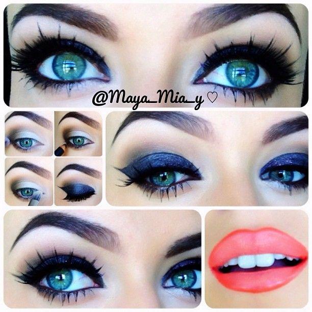 navy blue smokey eyes with choral lips