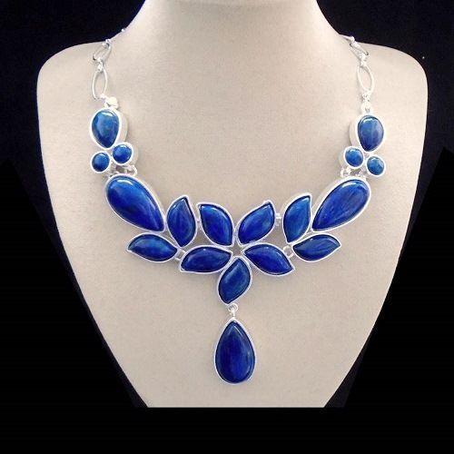 Indischer-Saphir-Halskette-Collier-Silber-plattiert