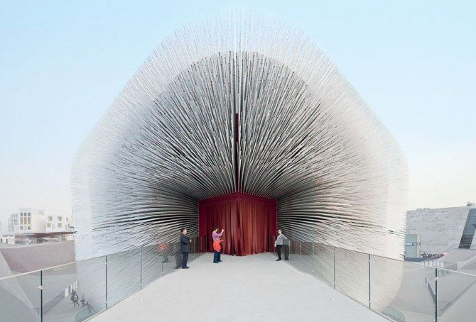 The entry of Heatherwick's Seed Cathedral—the U.K. pavilion conceived by Thomas Heatherwick for Shanghai's Expo 2010.