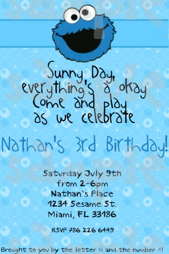 Sesame Street Cookie Monster Birthday Invitation Boy or Girl Printable