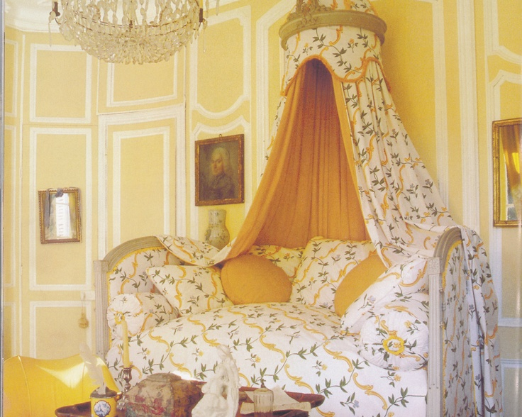a french style canopy bed in swedish gustavian colors - Yellow Canopy Interior