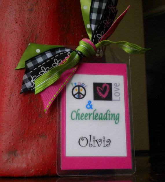 Peace, Love  Cheerleading bag tag decked out in ribbons