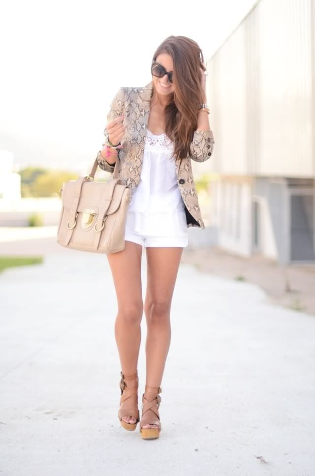 snake print + white.: Light Pink Blazers, Shoes,  Minis, Summer Looks, Summer Outfit, Shorts, Currently, Cute Outfit, Summer Clothing
