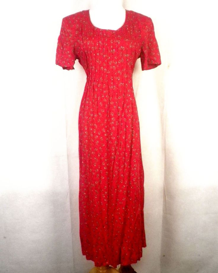 vtg 90s euc Betsy Lauren red Rayon GRUNGE Tiny Floral Maxi Dress Tie Off back 6P