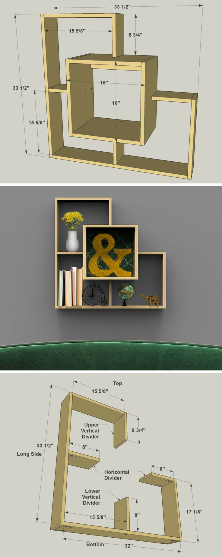 If you're looking for a unique way to display some of your favorite things, you'll want to check out this different twist on the traditional display shelf. It has a deep inner box that's partially surrounded by a shallower out box. That outer box has its own sections, creating a unique look. FREE PLANS at http://buildsomething.com #woodworking