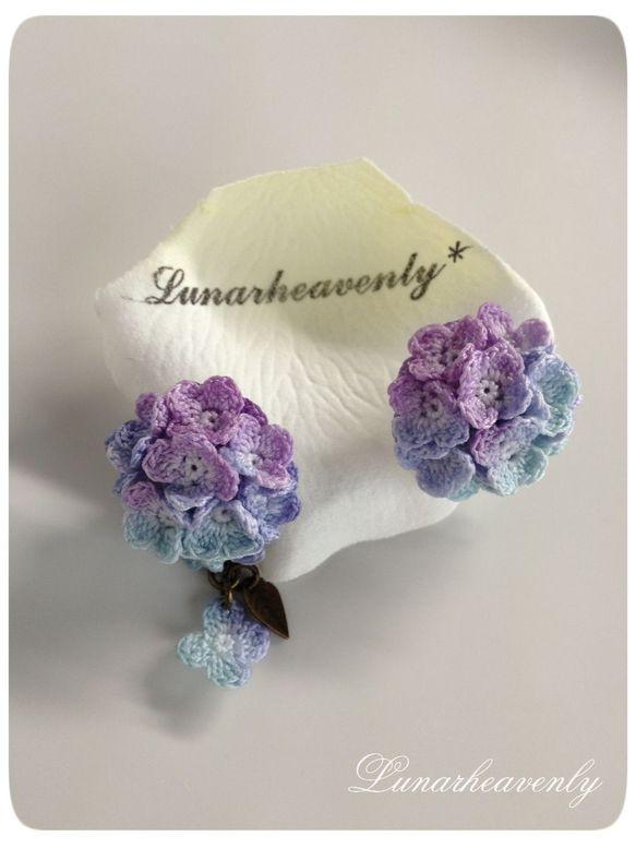 紫陽花のピアス(紫色)レース編み