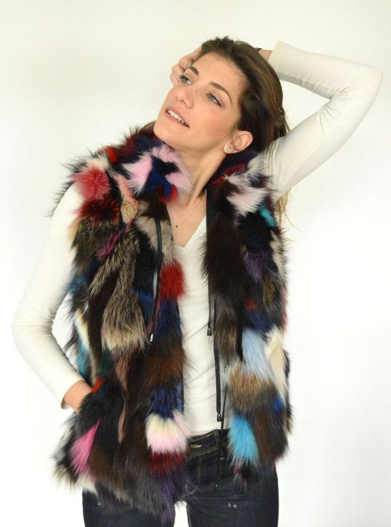 Colorful Women's Fox Fur Vest made with genuine Fox by lefushop