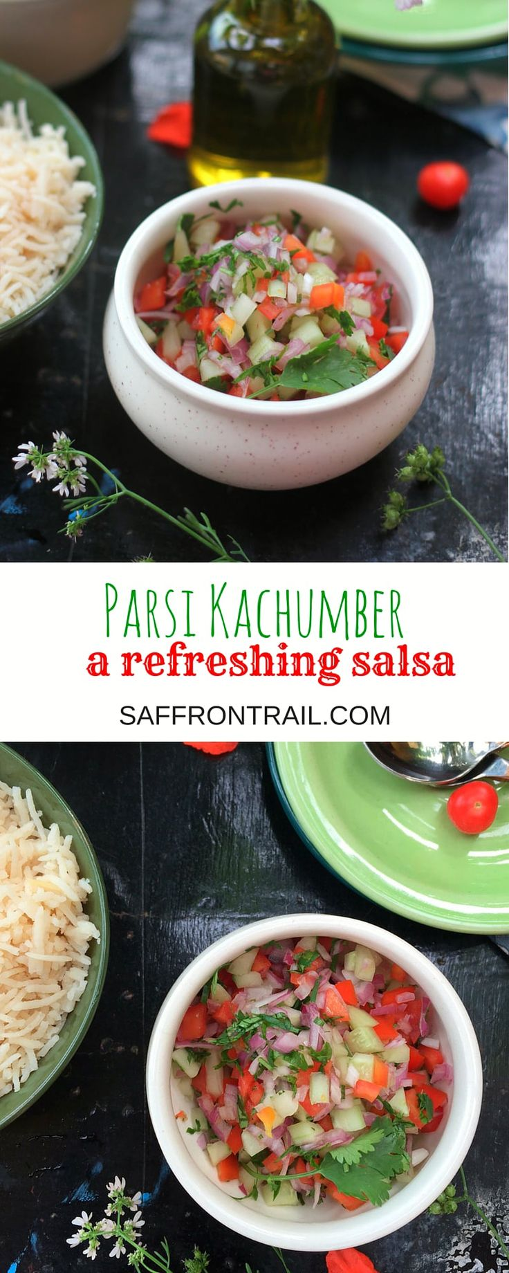 Kachumber is a quintessentially Parsi salad or salsa that is served along with a main dish like dhansak and rice. A super refreshing condiment that goes well with any Indian meal
