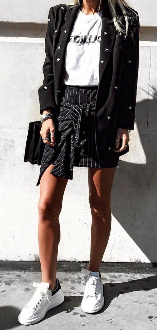 #winter #outfits white Metallica T-shirt, black suit jacket and black skirt