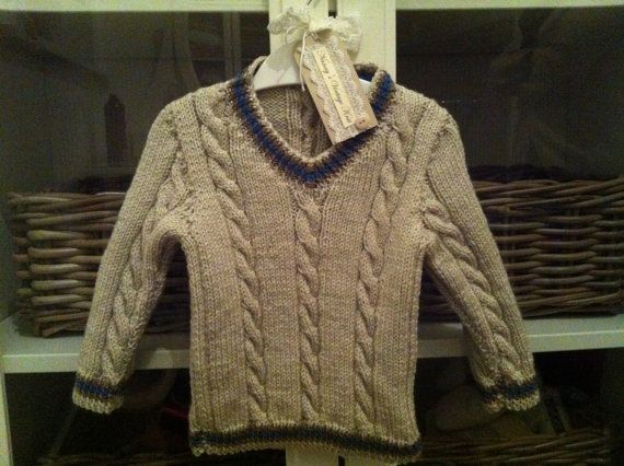 Cable knit cricket style jumper. Sizes by NannysVintageKnit, £14.00
