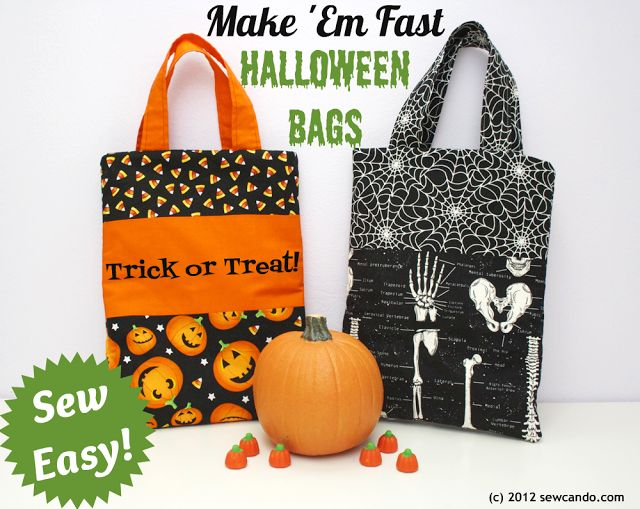 Sew Easy Halloween Treat Bags - make in under 20 minutes!  at Sew Can Do