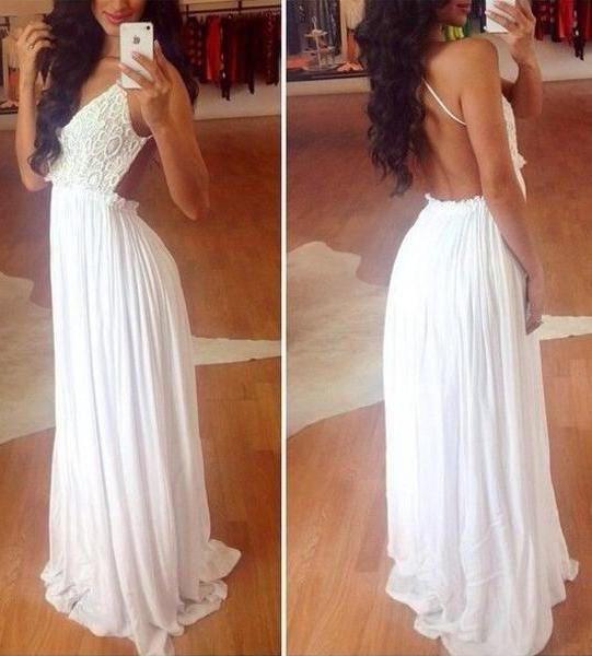 White Backless Wide Hem Lace Splicing Maxi Dress